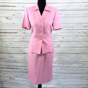 Le Suit 2PC Skirt Suit Top Short Sleeves Size 8